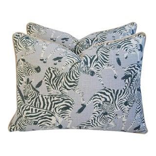 Safari Zebra Linen & Velvet Feather/Down Pillows - A Pair For Sale