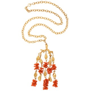 Coral and Shell Pendant Necklace For Sale