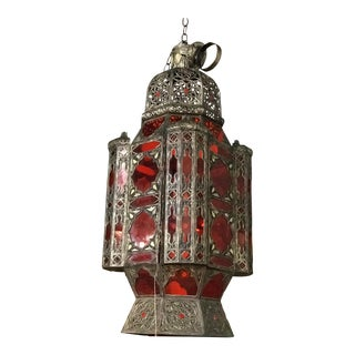 Vintage Moroccan White Brass Hanging Lantern For Sale