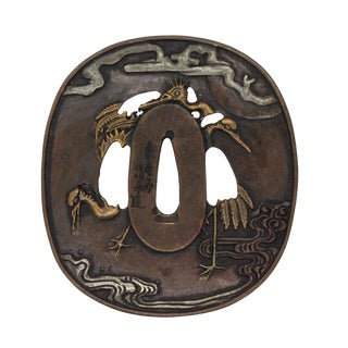 Bronze Quality Handcrafted Japanese Round Shape Tsuba With Cranes Birds For Sale