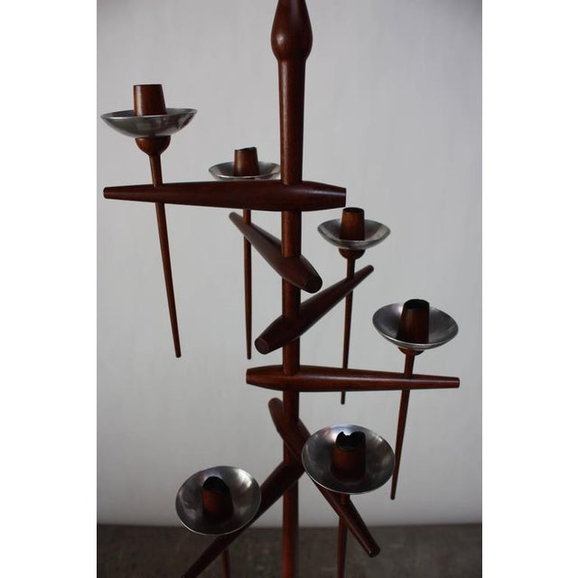 1960s 1960s James Martin Carved Walnut Floor Candelabrum For Sale - Image 5 of 11