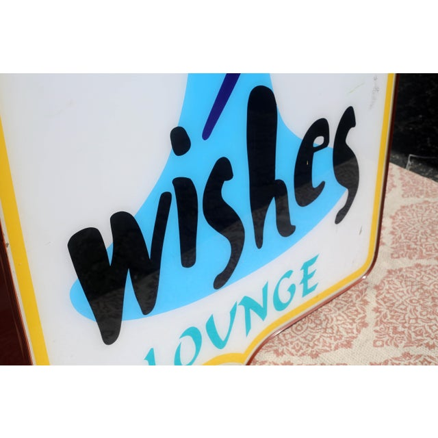 Metal Vintage Illuminated Commercial Sign From 3 Wishes Restaurant and Lounge For Sale - Image 7 of 12
