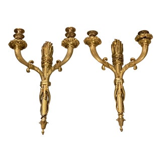 1900s Caldwell Gilt Bronze Sconces - a Pair For Sale