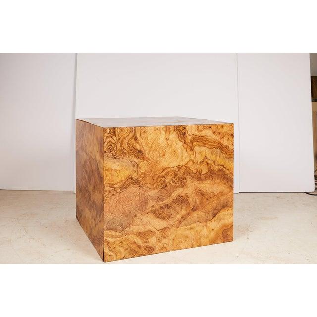 Mid-Century Modern Midcentury Burled Wood Laminate Cube For Sale - Image 3 of 13