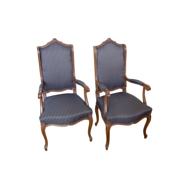 Louis XV French Pinstripe Carved Fauteuils - Pair - Image 1 of 9