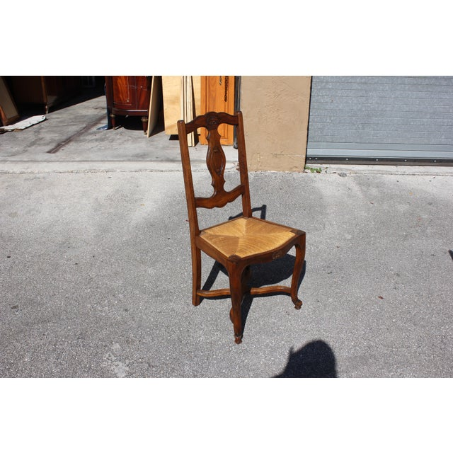 Early 20th C. Vintage French Country Rush Seat Walnut Dining Chairs- Set of 6 For Sale - Image 9 of 13