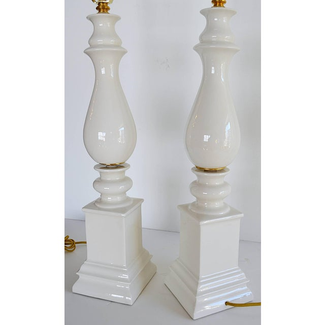 1940s Mid-Century Modern Blanc De Chine Baluster Form Table Lamps - a Pair For Sale In New York - Image 6 of 8