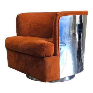 Milo Baughman Chrome Wrapped Barrel Club Chair For Sale