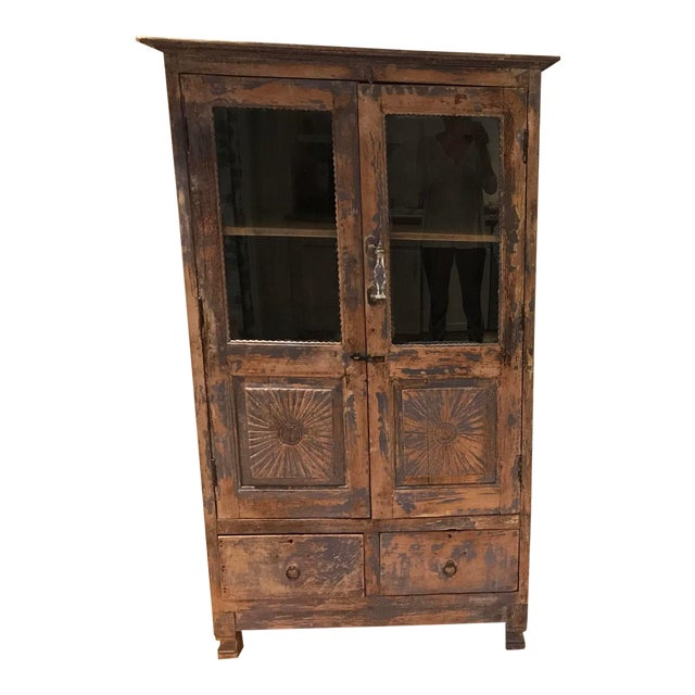 Antique Indian Wood Cabinet With Glass Doors