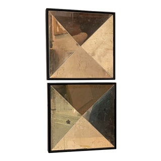 1940s Art Deco Square Black Frame Mirrors - a Pair For Sale