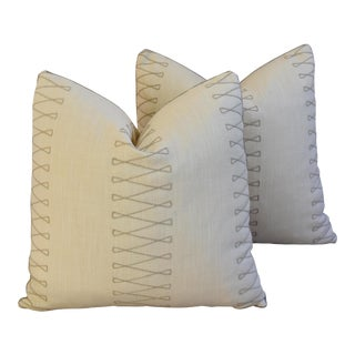 "Designer Old World Weavers Cuba Libre Feather/Down Pillows 20"" Square - Pair For Sale"
