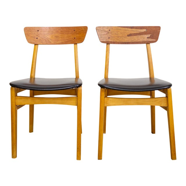 Astounding Danish Mid Century Dining Chairs Curved Back Pair Of Two Machost Co Dining Chair Design Ideas Machostcouk