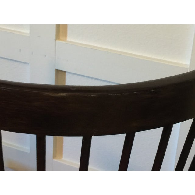 Wood Edmund Spence Style Ebony High Comb Spindle Windsor Chairs - Set of 3 For Sale - Image 7 of 13