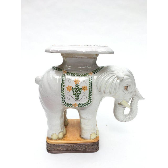 Terra cotta elephant garden stool made in Italy. The stool is on the larger side, as far as elephant garden stools go,...