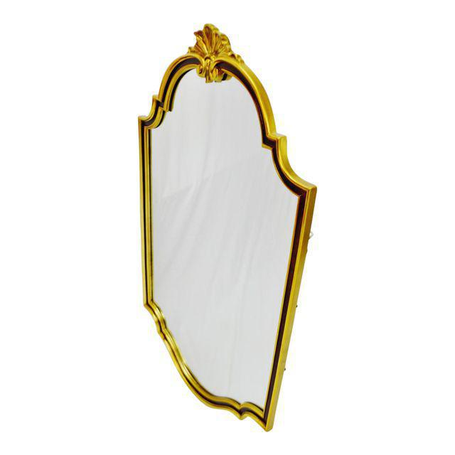 Large vintage Carolina Mirror Corporation wall mirror with burgundy and gold colored frame. - Image 2 of 10