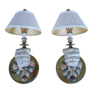 1970s Mid-Century Modern Carved Wood Sconces - a Pair For Sale