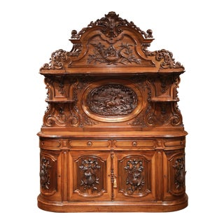 Large 19th Century French Carved Rosewood Hunting Buffet With Deer and Birds For Sale