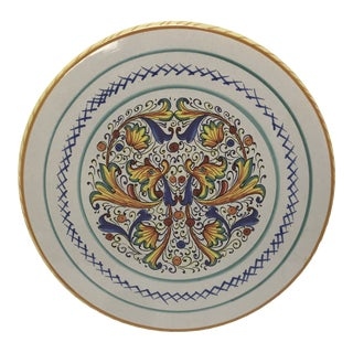 Mid 20th Century Hand Painted Italian Cake Plate For Sale