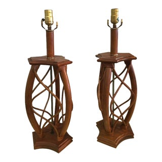 Vintage Mid-Century Modern Rattan Table Lamps - A Pair For Sale