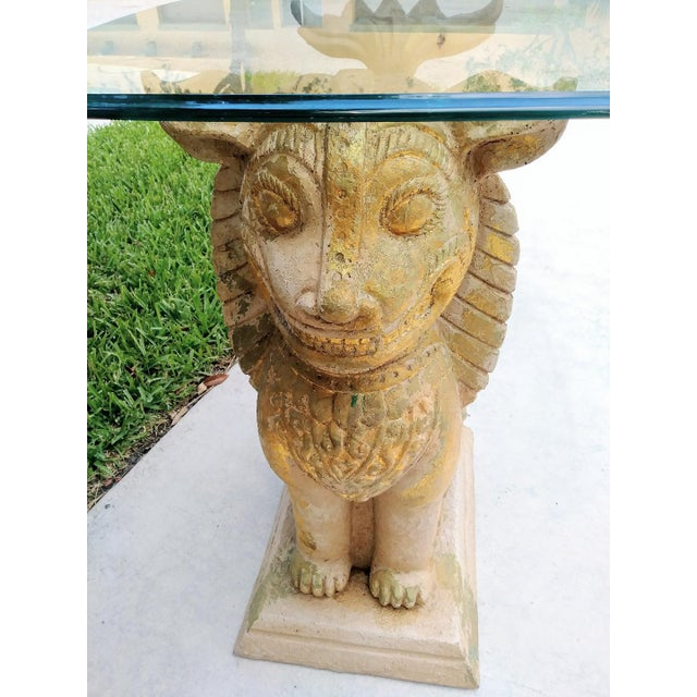 Asian Palm Beach Regency Monumental Lion Foo Dog Glass Top Side Table For Sale - Image 3 of 8