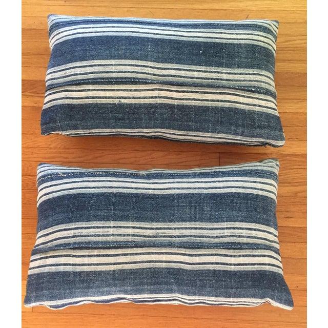 Vintage African Indigo Mud Cloth Pillows - A Pair - Image 2 of 8