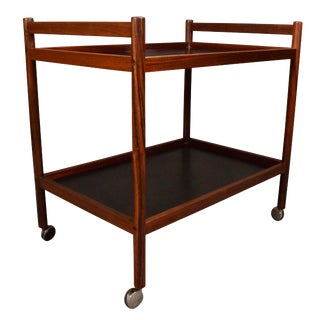 1960s Danish Modern Rosewood Cocktail Bar Cart For Sale