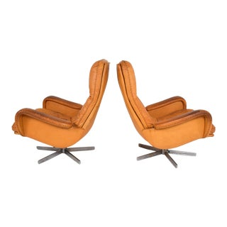 Midcentury Set of Two De Sede S 231 James Bond Swivel Arm Lounge Chairs, 1960s For Sale