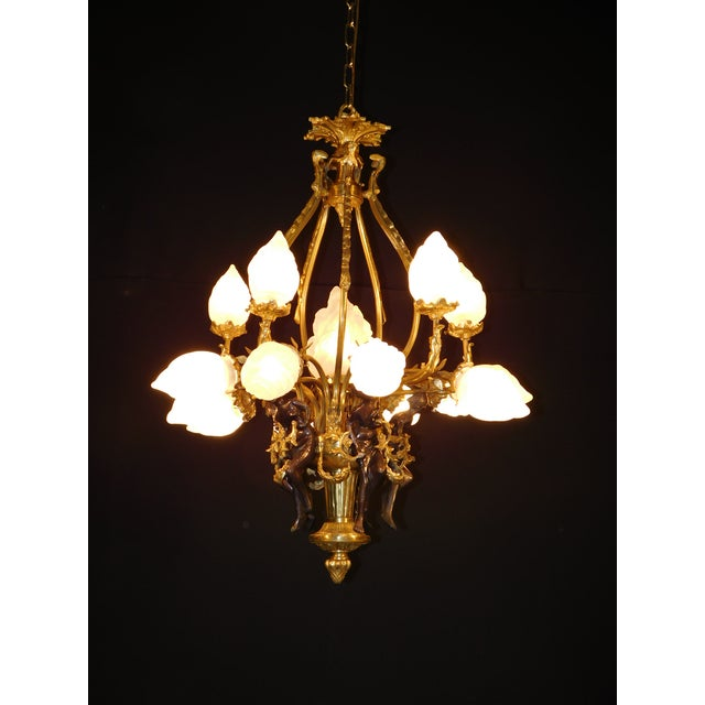 Brass Antique Bronze Maidens Flame Globe Chandelier For Sale - Image 7 of 13