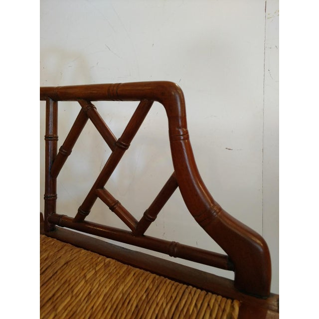 Rush Vintage Chippendale Faux Bamboo Armchair For Sale - Image 7 of 9