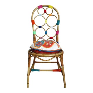 1970's Vintage Boho Chic Bright Bamboo Chair For Sale