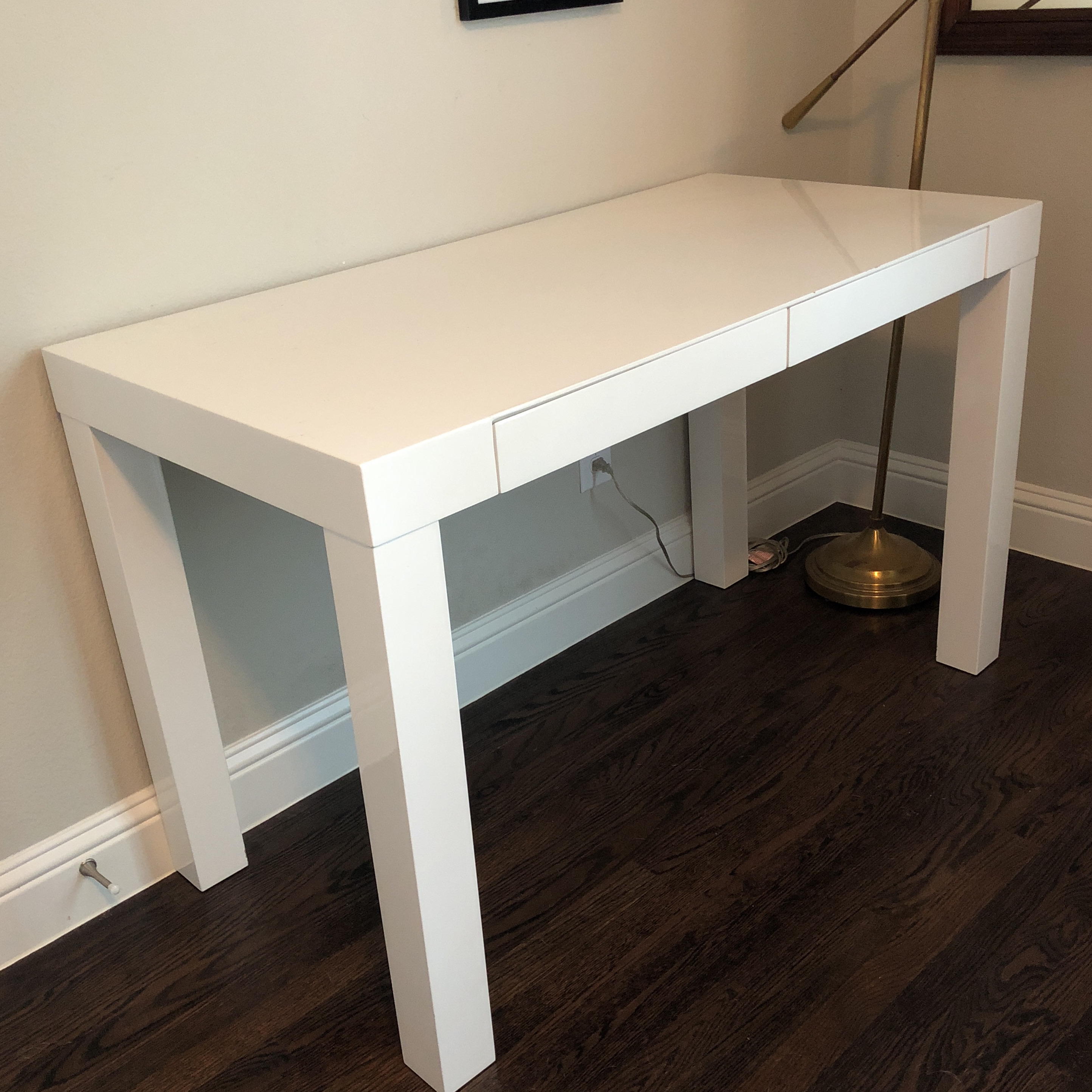 Very Nice West Elm Parsons Desk With Two Drawers. There Are Two Small Mars  On