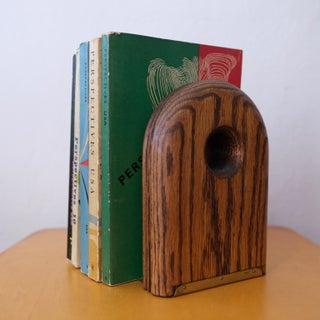 1970s Solid Oak and Brass Modernist Bookends Preview