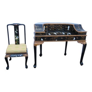Chinoiserie Scenery Oriental Writing Lady Desk Vanity Table and Chair For Sale