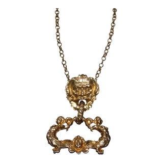 Massive Gilt Metal Figural Pendant Necklace C 1970 For Sale