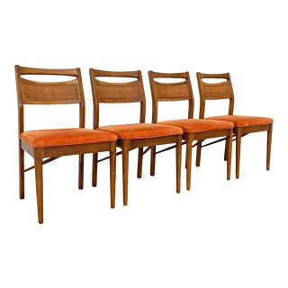 Set of 4 Mid-Century Modern American of Martinsville Walnut Cane Dining Chairs For Sale