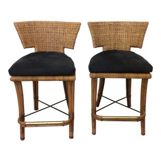 Vintage McGuire Wicker & Bamboo Bar Stools - A Pair