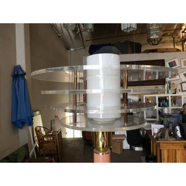 Pink Art Deco Revival Memphis Style Floor Lamp, Circa 1980 For Sale - Image 8 of 10