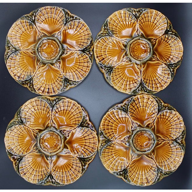 Ceramic 1930s French Sarreguemines Scallop Shell Oyster Plates - Set of 4 For Sale - Image 7 of 7