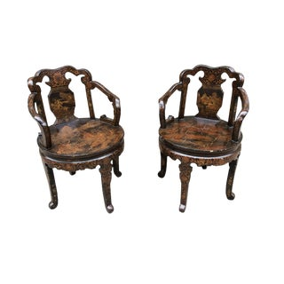 Early 20th Century Hand-Painted European Japonisme Chairs - a Pair For Sale