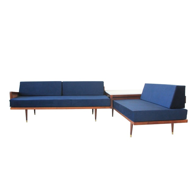 Vintage Mid Century Modern Navy Blue Sectional For Sale