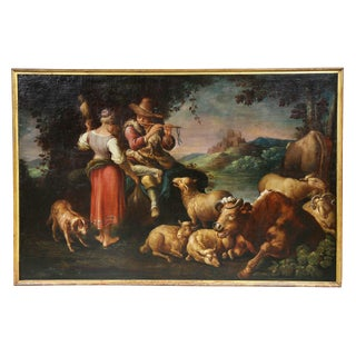 Large Italian Pastural Landscape Oil Painting For Sale