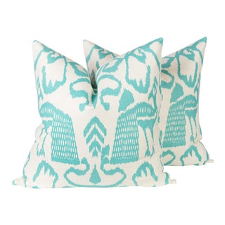 Teal China Seas Bali Isle Pillows - A Pair For Sale