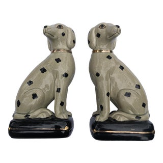 1970's Vintage Takahashi Ceramic Dalmatian Dog Bookends-a Pair For Sale