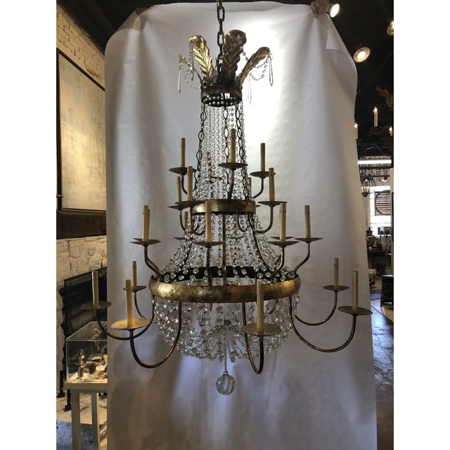 Vintage French Gilt and Crystal 24 Arm Chandelier For Sale - Image 13 of 13
