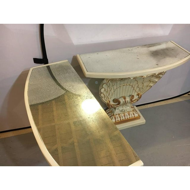 Jansen Shell Form White & Parcel Gilt Demi Lune Consoles - A Pair - Image 3 of 9