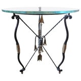 Image of 1970's Italian Giacometti Inspired Iron and Brass Table For Sale