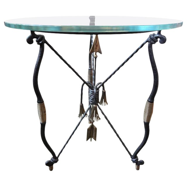 1970's Italian Giacometti Inspired Iron and Brass Table For Sale