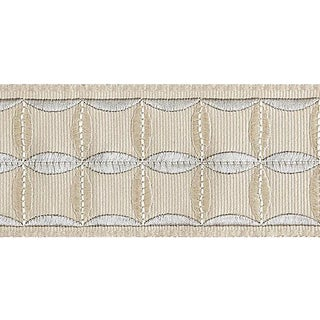 Sample, Scalamandre Fiori Embroidered Tape, Flax For Sale