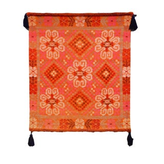 Vintage Bright Orange Hued Woven Tapestry