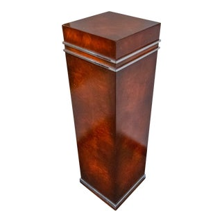 Theodore Alexander Burl Wood and Steel Pedestal For Sale